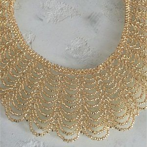 Glass Bead Scalloped SHIMMERING GOLD Necklace